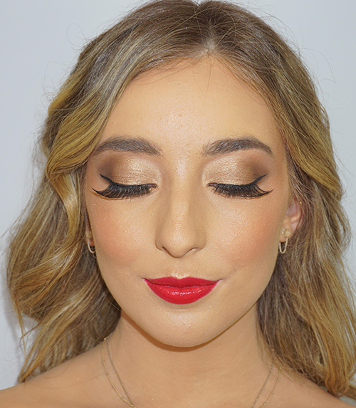 Makeup Artistry Model with lashes and lipstick