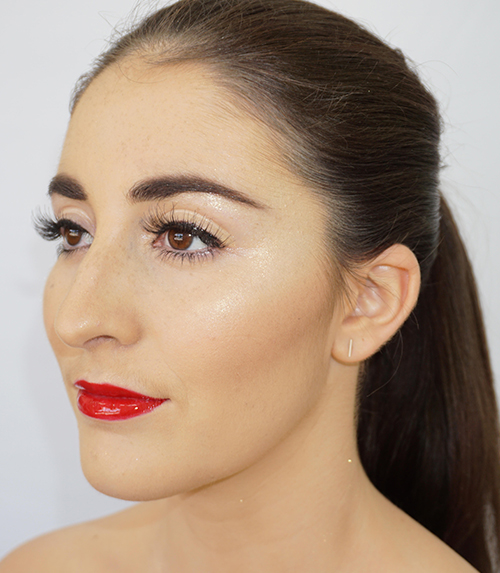 model with eye brows tinted and makeup done